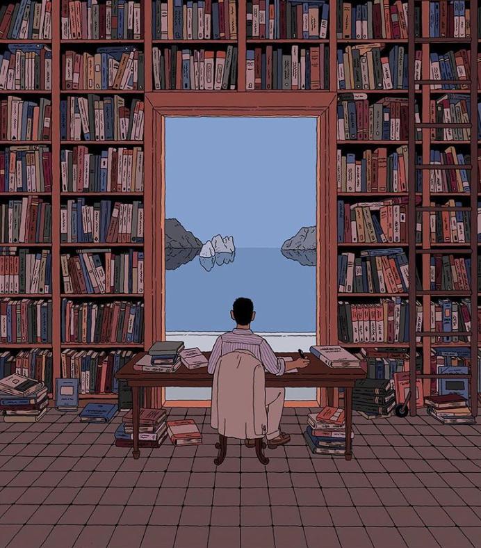 A library by the Tyrrhenian Sea - Ilya Milstein